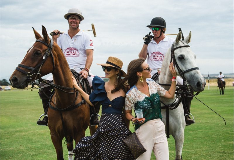 Polo girls and horses
