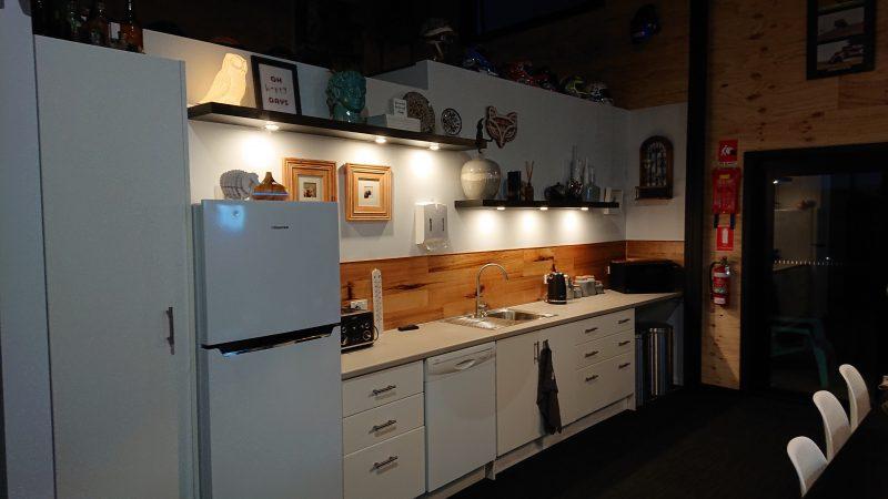 fridge,kitchen bench,microwave