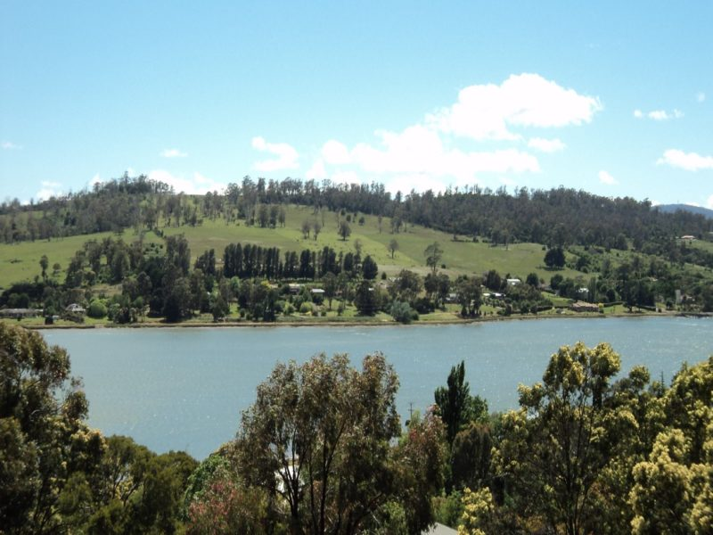 this is the view of the Tamar river from the front verandah