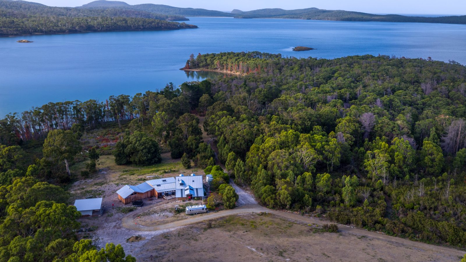Aerial view of Bruny Island Lodge out to Mickeys Bay