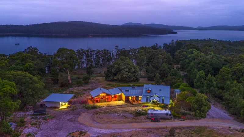 Bruny Island Lodge aerial evening view to Mickeys Bay