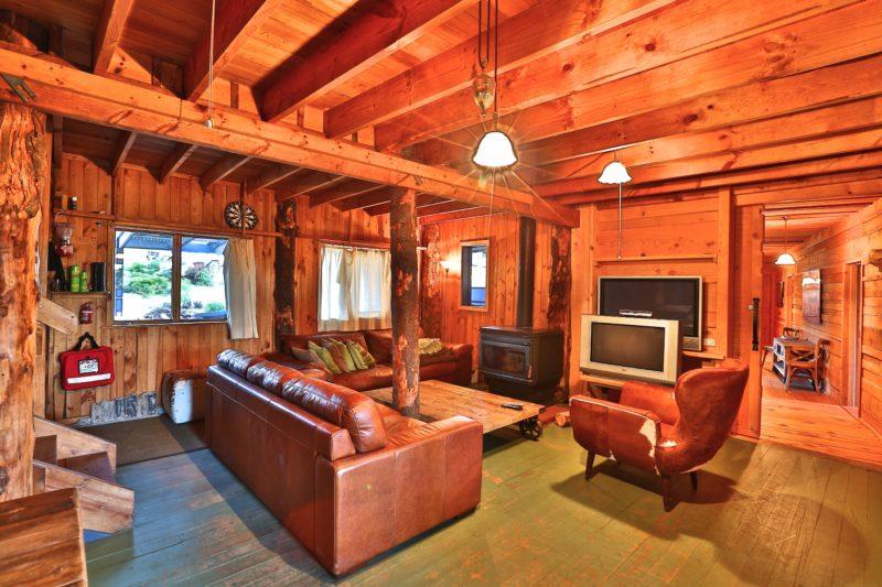 Bruny Island Lodge lounge and fireplace
