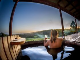 Relax in the wood fired Hot Tub