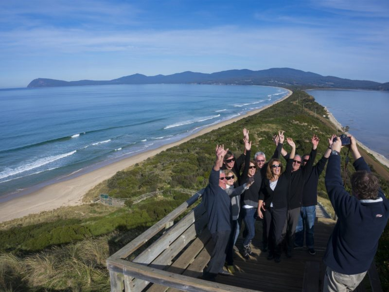 Bruny Island Traveller tour group at the Bruny Island Neck