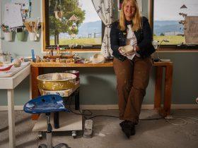 Lisa Britzman in her Campo de FLori Ceramics Studio in Glen Huon Tasmania