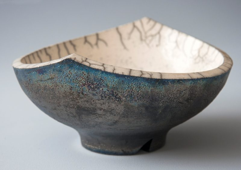 Raku Bowl Made by Lisa Britzman in the Campo de Flori Ceramics studi at Glen Huon Tasmania