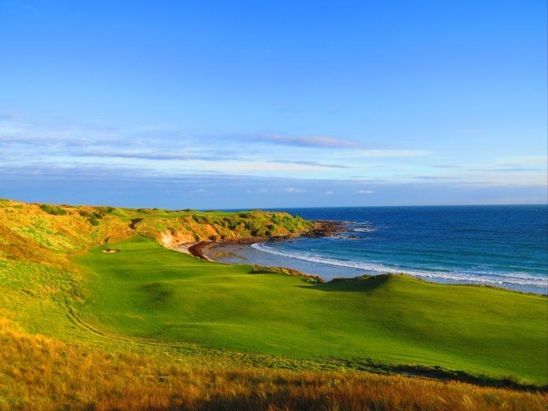 A golfing fairway by the ocean