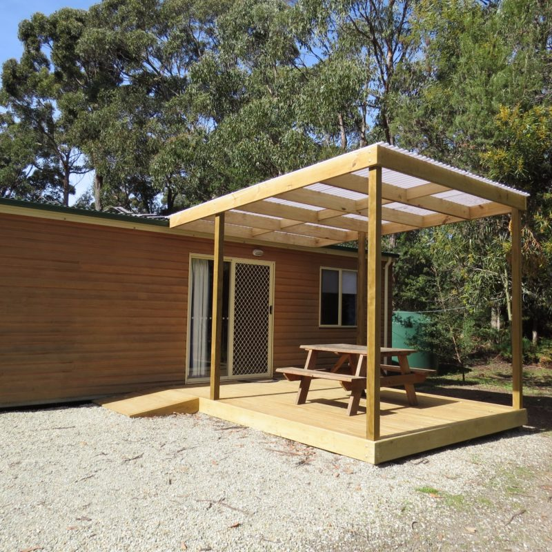Large covered deck ideal for the family .