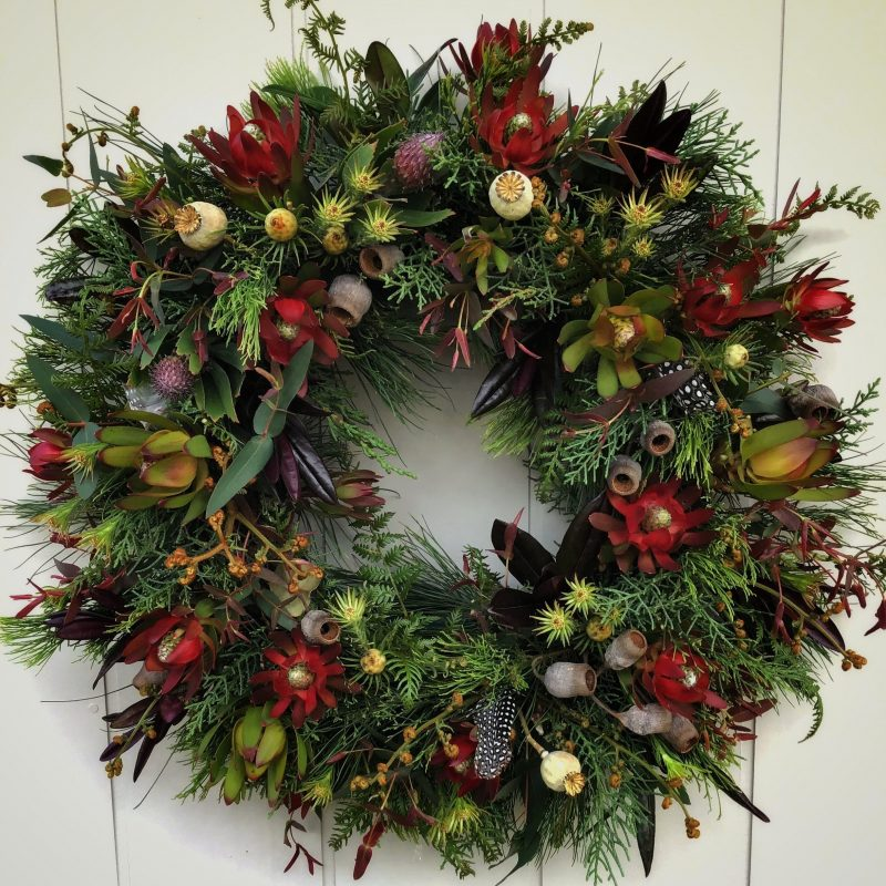 Christmas Wreath to be made at the Campo de Flori workshop in Glen Huon Tasmania