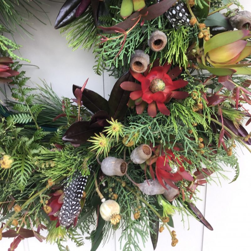 Close up of Chritsmas wreath to be made at the Campo de Flori workshop in Glen Huon Tasmania