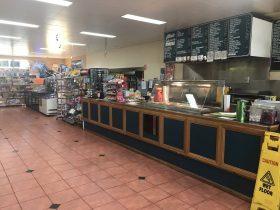 Front counter and bain maree at Dinos Takeaway
