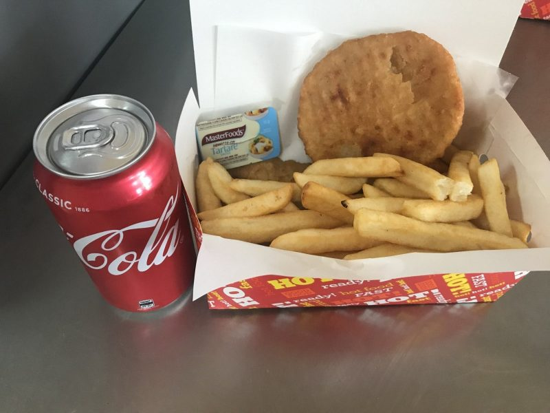 Dino's Takeaway Fish N Chip pack - 1 piece of Flake, potato cake, dim sim, chips, drink for $9