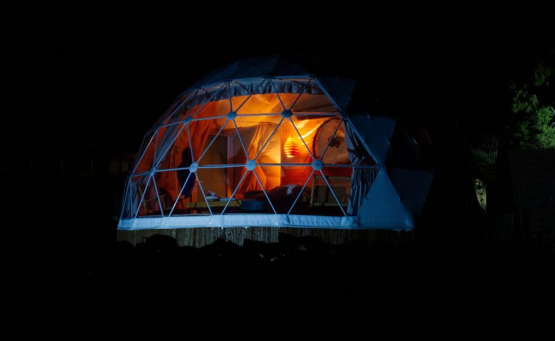 Domescapes, glamping, star-gazing, panoramic views, night
