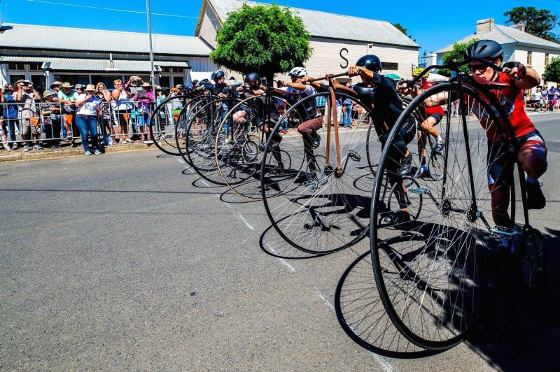 Race line of the National Penny Farthing Championships