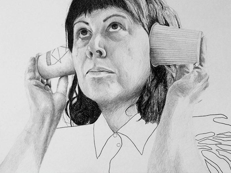 Linda Crispin, Hear No Evil (detail), 2019, graphite on paper