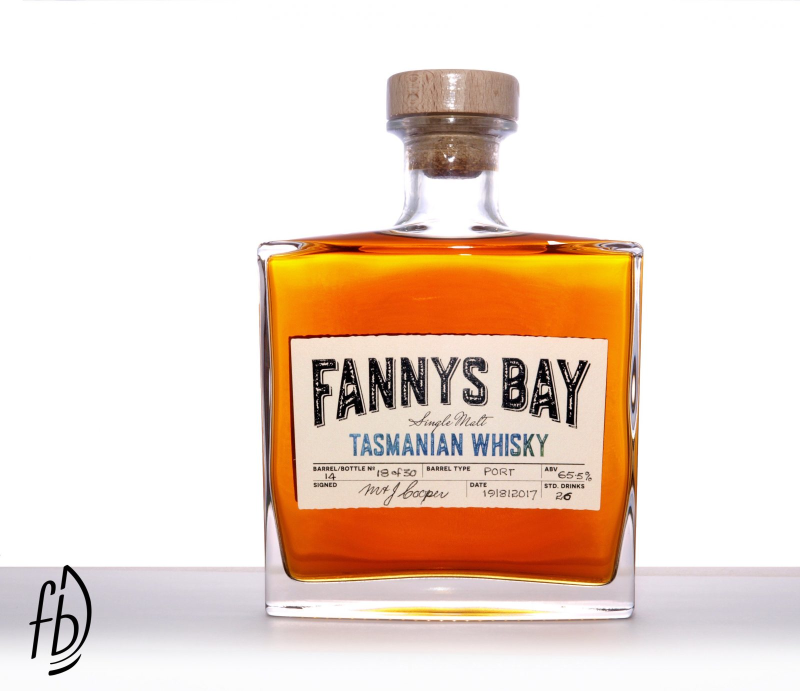 A beautiful bottle of Fannys Bay Tasmanian Single Malt Whisky