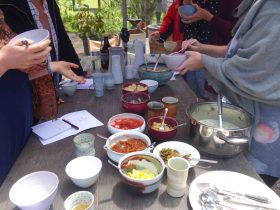 Tasting fermented foods around the communal table