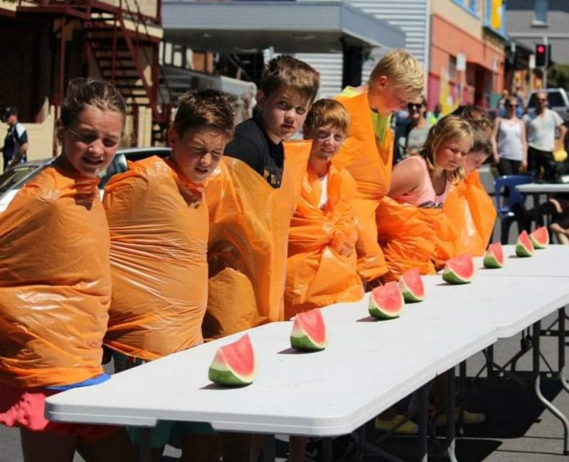 The ever popular watermelon eating competition