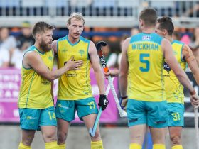 The Kookaburras celebrate a goal in Melbourne