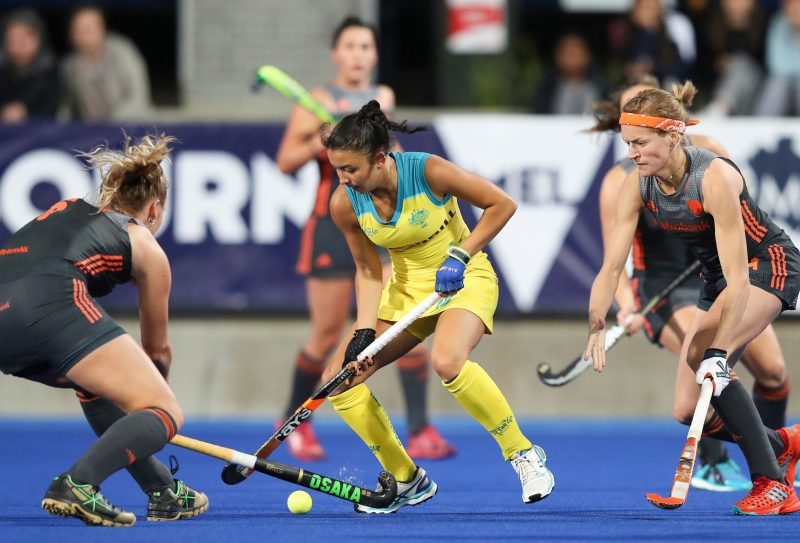 Hockeyroo Kristina Bates takes on the Netherlands in Melbourne