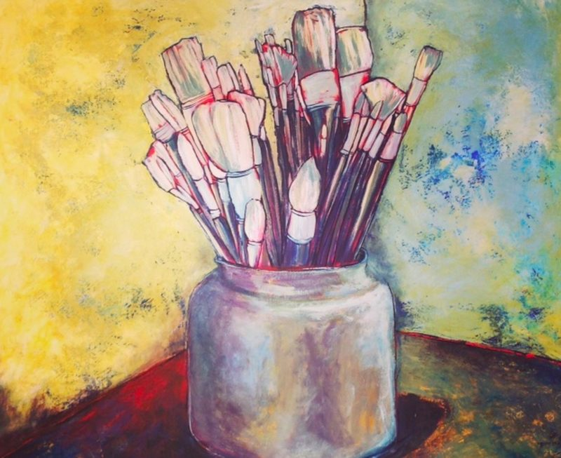 Painting of a pot of paint brushes, textured