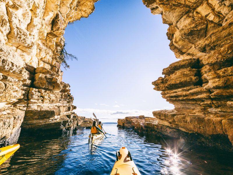 Kayaking Blackmans Bay Blowhole