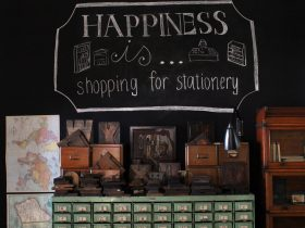 Stationery store with vintage items and boutique stationery shopping