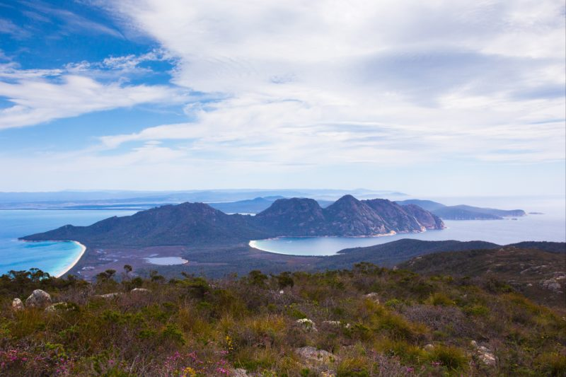 Day 2 view from Mount Graham, taking in Wineglass Bay and the Hazards