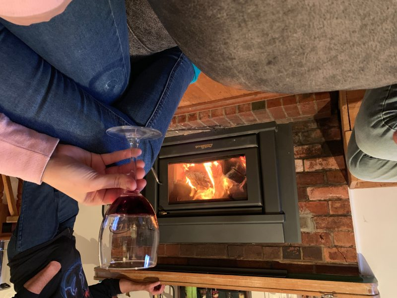Relaxing around one of our three fire places