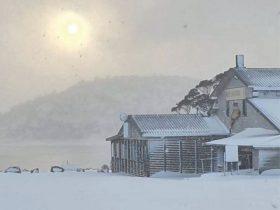 Snow at the lake