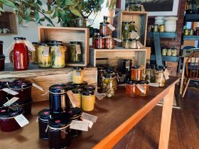 A beutiful selection of preserves made on the premises
