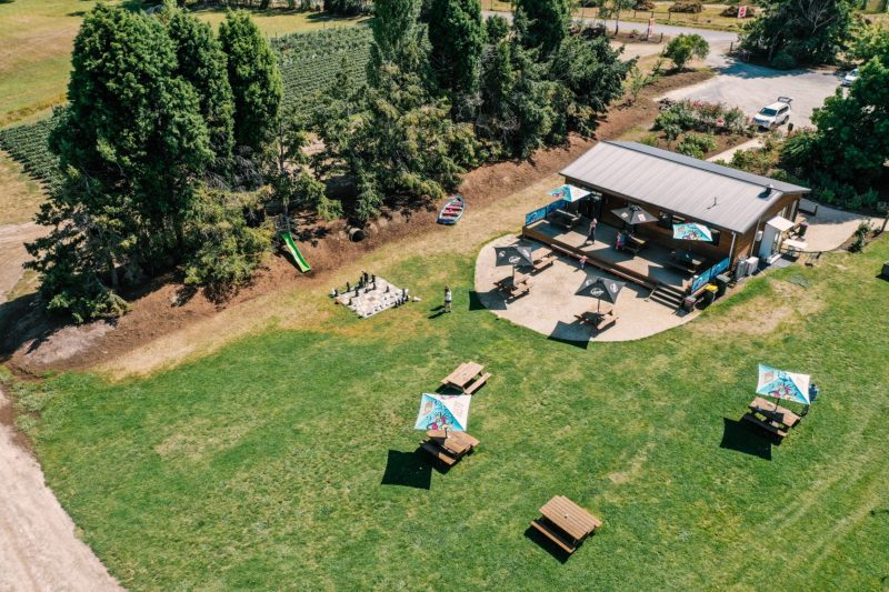 Overhead view of the cafe and picnic tables.