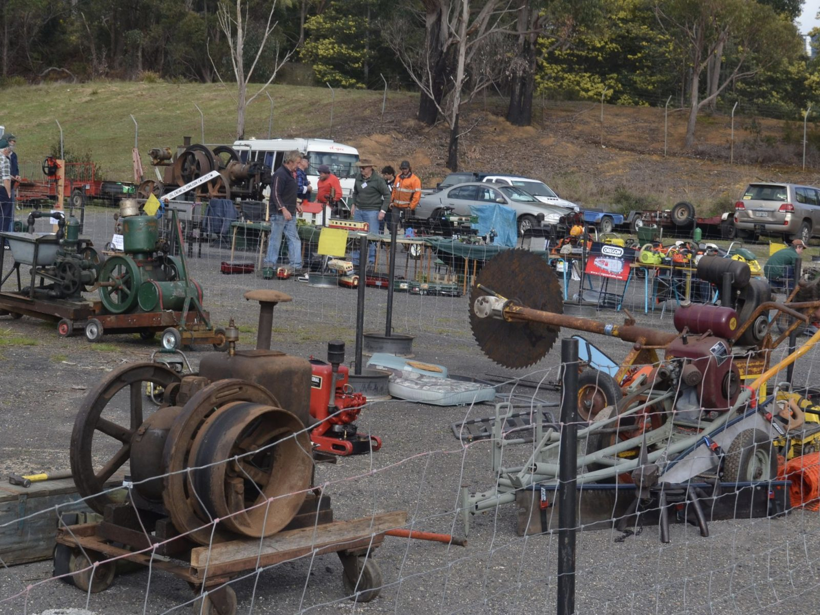 Historical Machinery Club display of vintage motors and memorabilia
