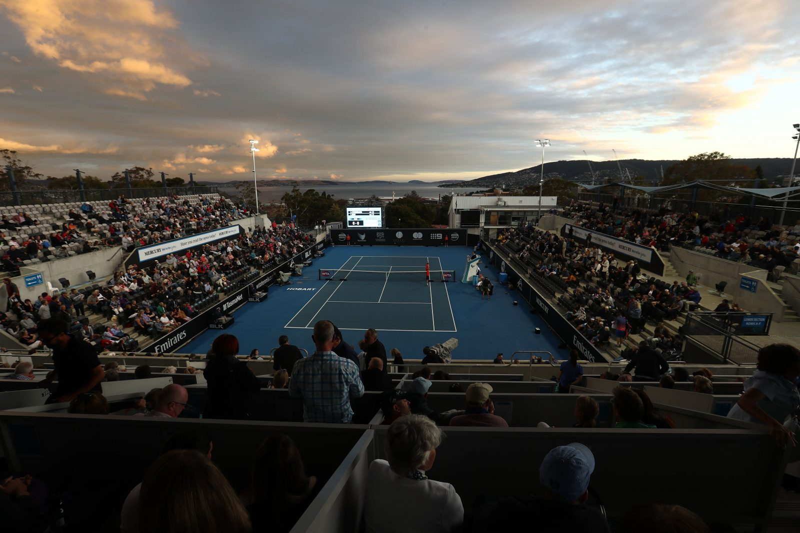 Hobart International centre court tennis action