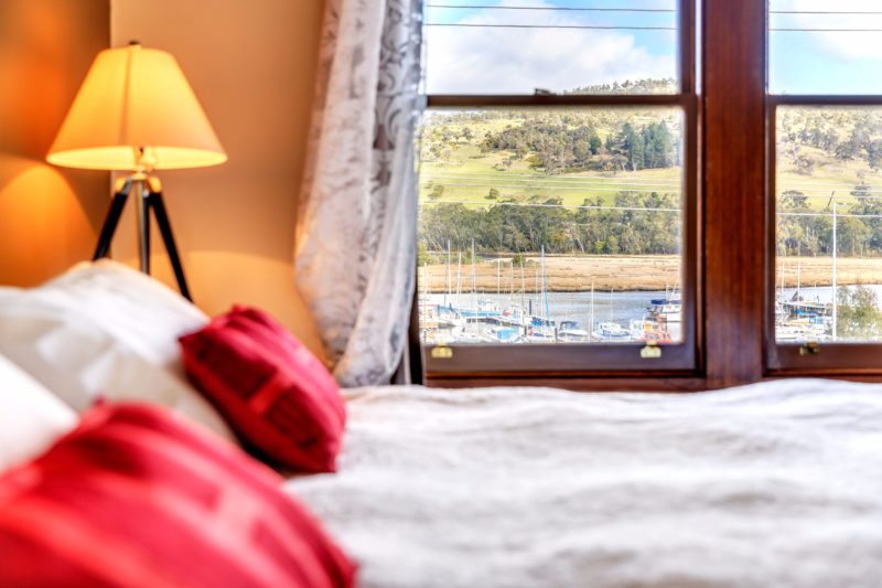 View from the king bedroom with water view at the Kermandie Waterfront Hotel, Port Huon