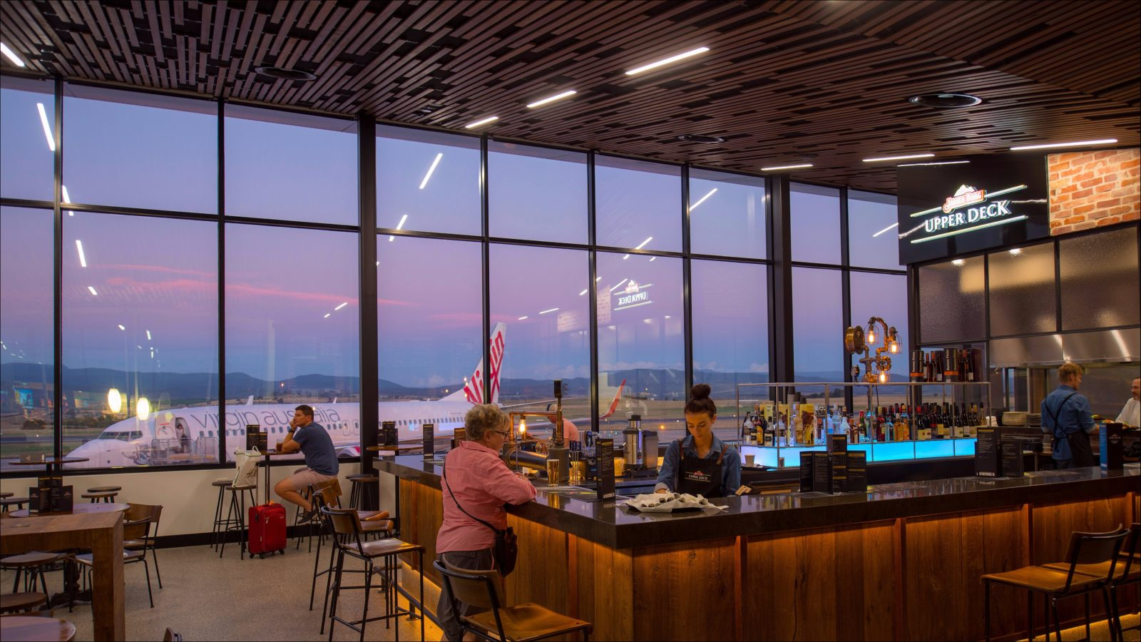 A view at dusk to the picturesque background from Boags Upper Deck Bar & Restaurant