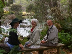 relaxing on the banks of the Leven River