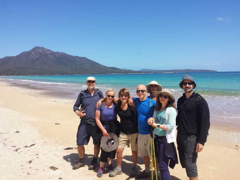 Happy hikers on the Freycinet & Wineglass Bay pack-free walk by Life's An Adventure