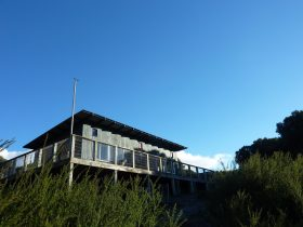 The bush retreat is nestled in a secluded teatree forest with sweeping ocean views.