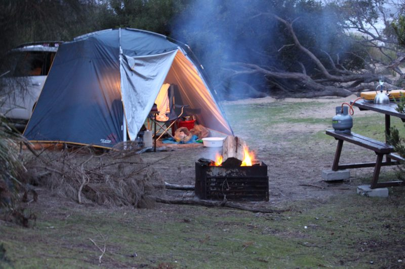 Camping at Bakers Point - Narawntapu National Park