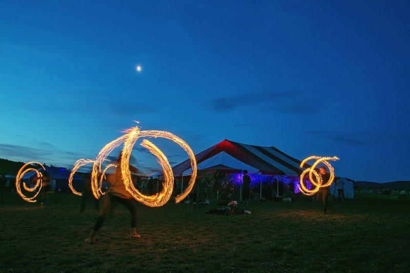 Night-time fire-twirlers