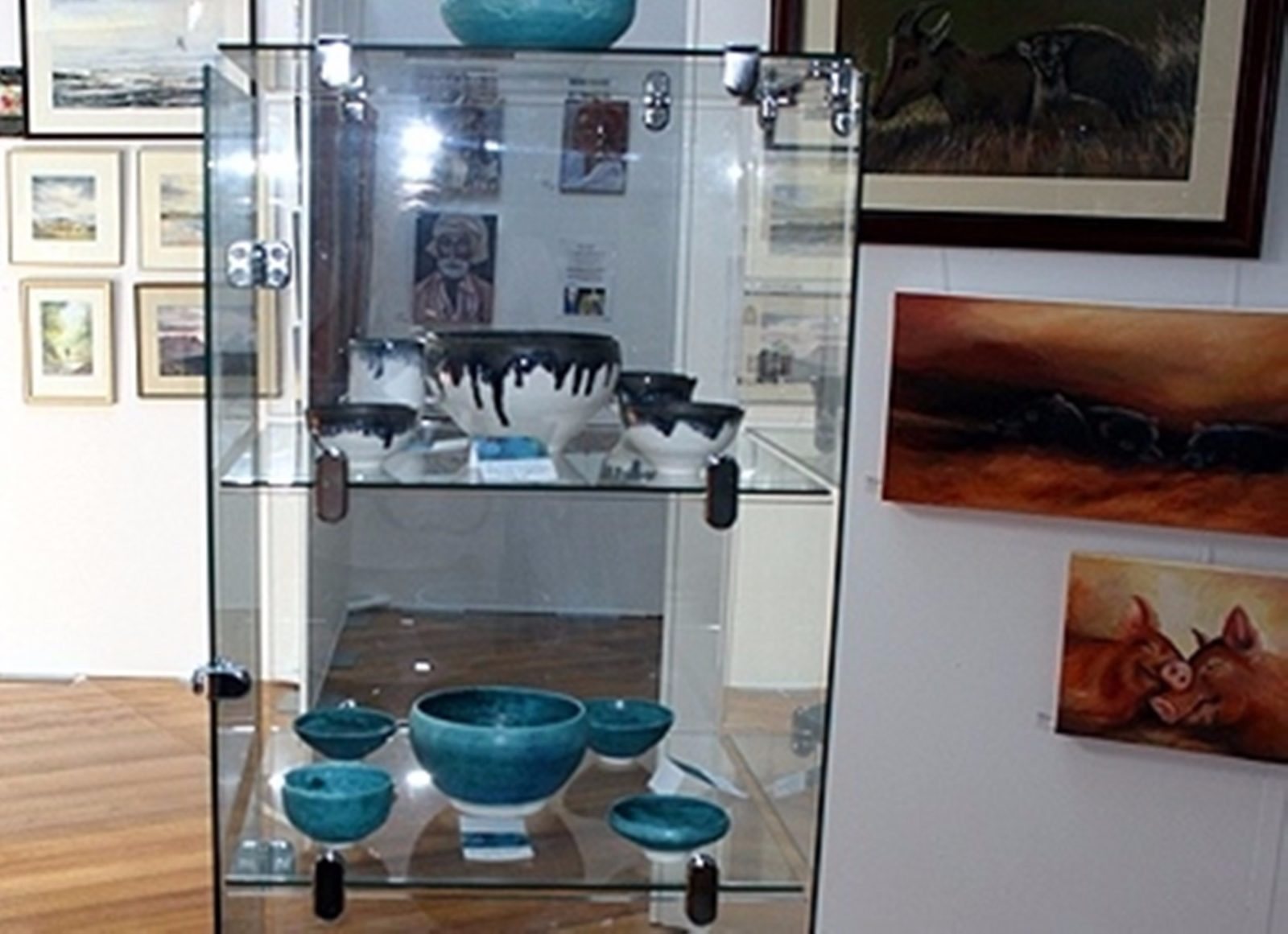 Some of the pottery at On Trak Gallery