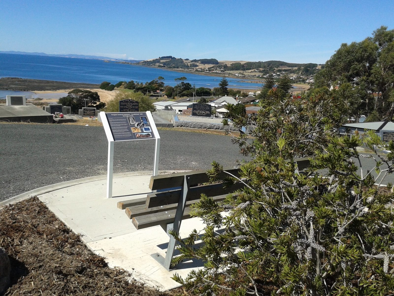 Penguin General Cemetery looking out over Bass Strait