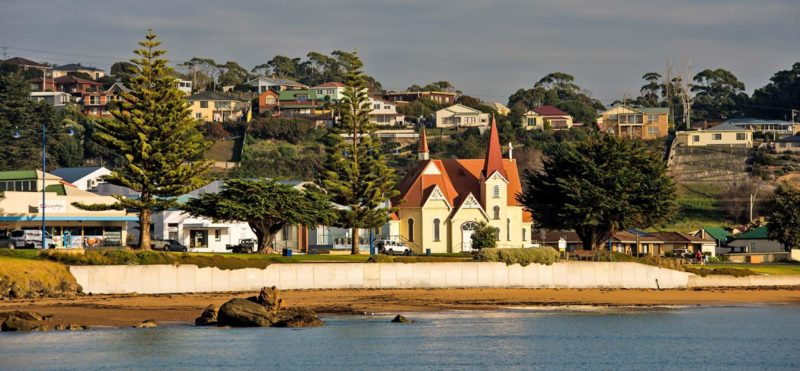 View from the ocean of Penguin's heritage-listed Uniting Church