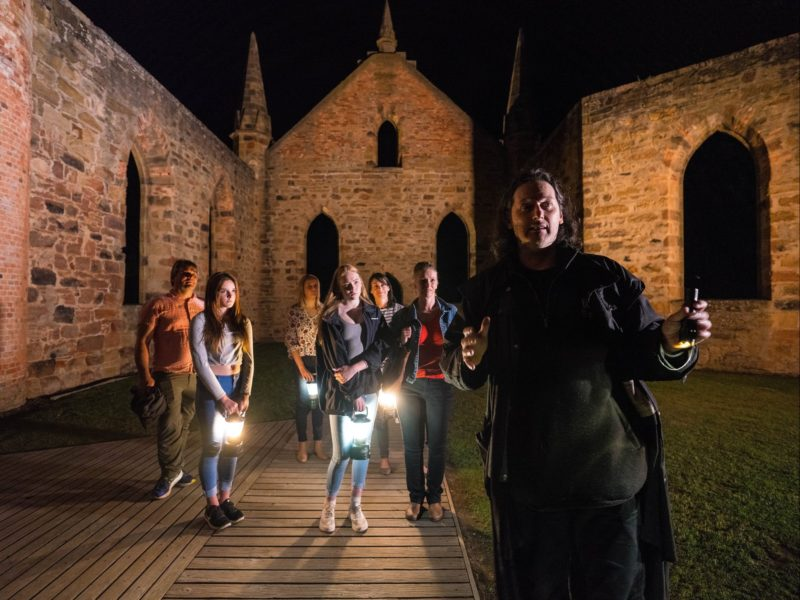 Hearing tales inside the Convict Church during a Ghost Tour