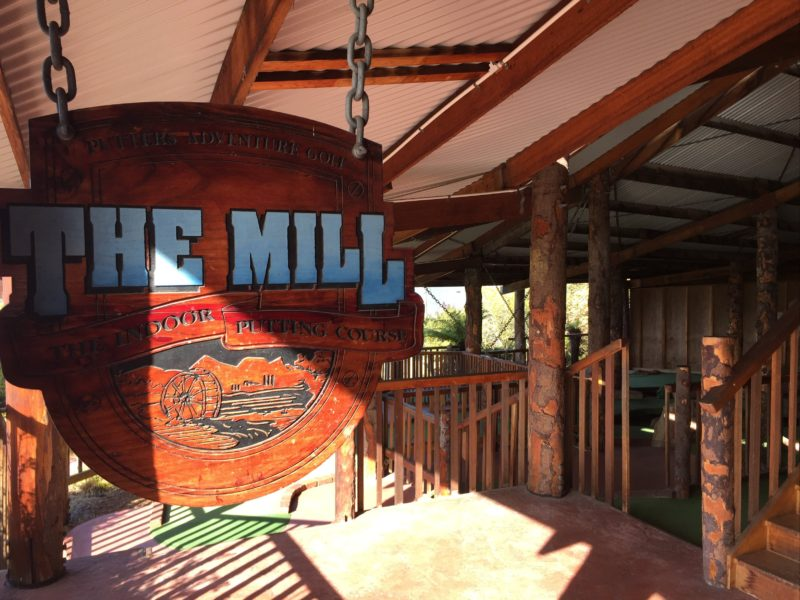 The Mill sign and path leading to the first hole