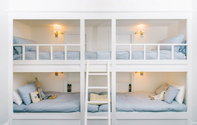 Contains 4 bunk beds