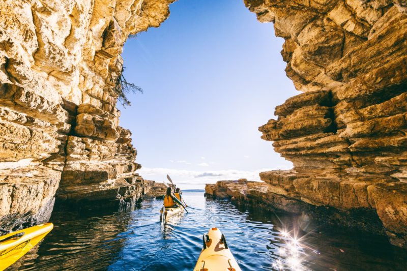 Kayaking in caves along the River Derwent