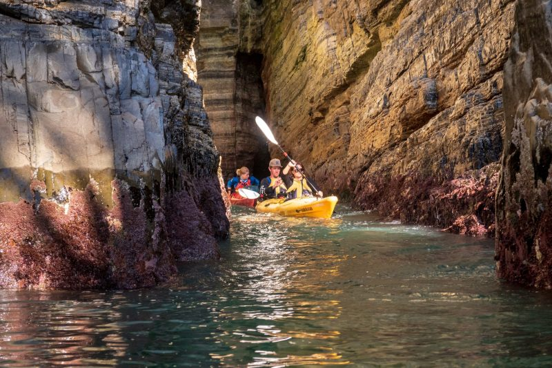 Kayakers paddling in a cave close to Hobart