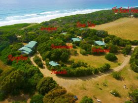 Aerial View of Sandpiper Cottages along with the names of all cottages.